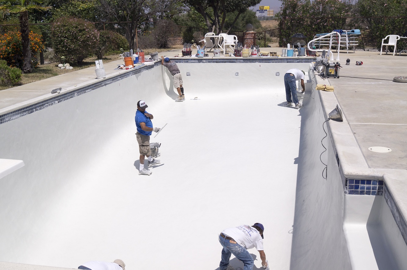 Replastering your pool will smooth rough spots on the bottom